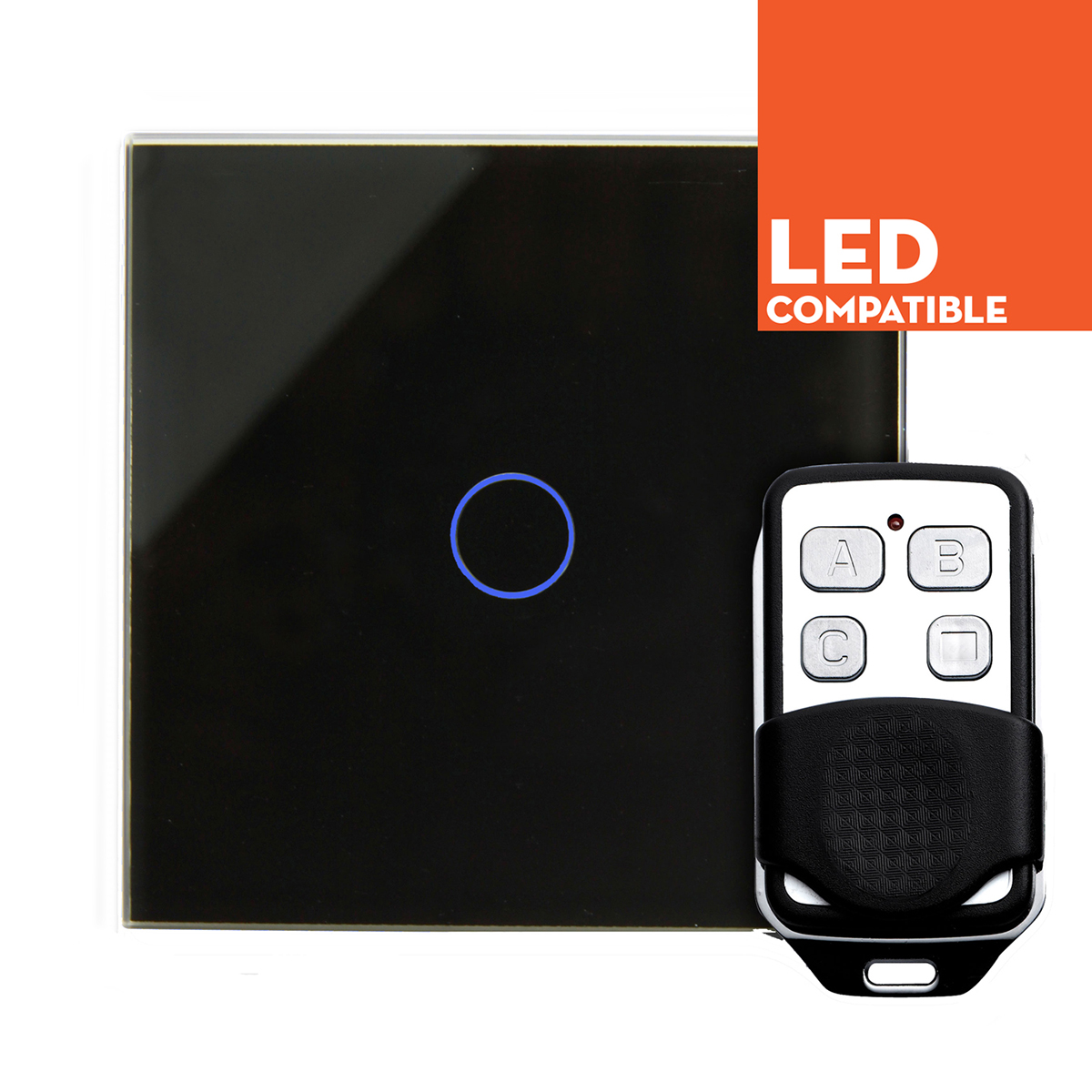 Black Glass Touch Dimmers